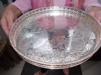 Pretty Circular Silver Plated Champagne Tray Ornate Gallery In Lovely Condition