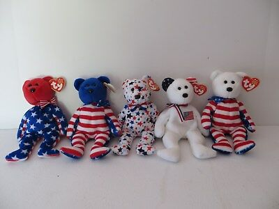 Ty Beanie Baby Bears America Liberty 2002 Red White Blue 2003 Lot Of 5 Retired