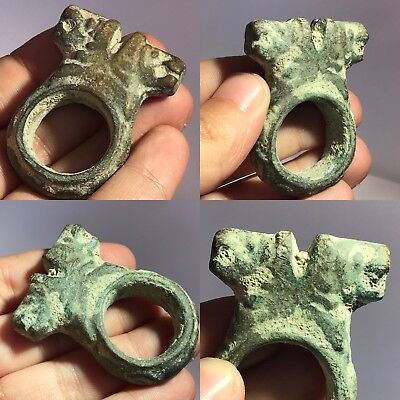 Museum Quality Roman Bronze Ring With Two Ram Head 500 Bc #sh511