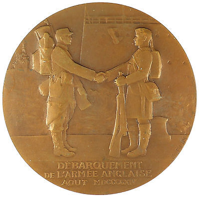France World War I MARECHAL FRENCH - ARRIVAL OF THE ENGLISH ARMY bronze 68mm