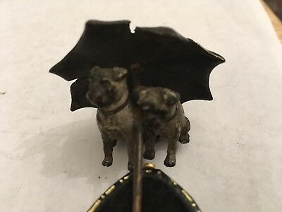 Austrian Cold Painted Bronze Sculpture Of Two Pug Dogs With Umbrella