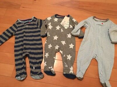 NWT Cat And Jack Baby Boy 3 pack Pajamas Footed Zip Up Sz Newborn