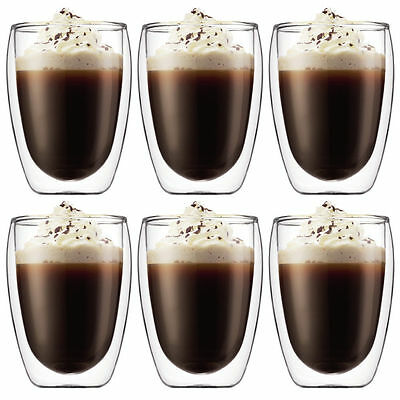 BODUM Pavina Double Wall Thermo Glasses Coffee Tea Cups 350ml 12oz set of 6 new