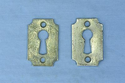 Antique SET of 2 NICKEL over BRASS KEY HOLE COVER ESCUTCHEON HARDWARE OLD #03759