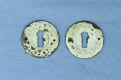 Antique SET 2 VICTORIAN PRESSED BRASS RD KEY HOLE COVER ESCUTCHEON HARDWARE 3778
