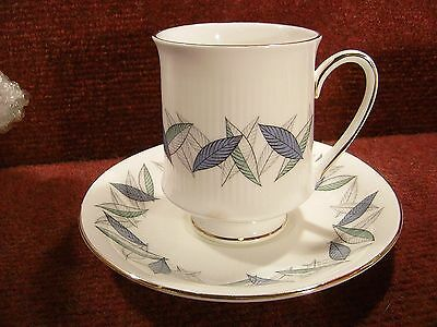 """ROYAL STANDARD """"TREND"""" Blue Turquoise Foliage COFFEE CUP & SAUCER"""