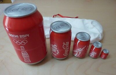 Coca-Cola Sochi 2014 Olympics Wooden Nesting Cans / Dolls Set of 5 - Rare Item