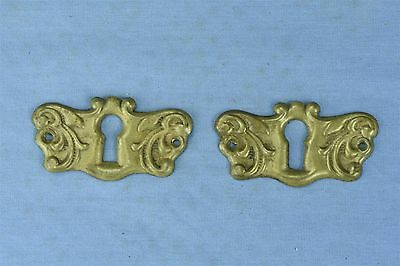 Antique SET 2 VICTORIAN PRESSED BRASS KEY HOLE COVER ESCUTCHEON HARDWARE #03780