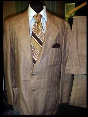 Vintage 70's Tacky Retro Mod DISCO MEN'S 2pc SUIT 44 w/38 PANTS w/ NECK TIE