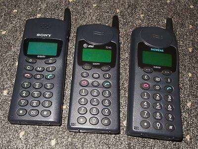 SIEMENS S3 PLUS SONY CM-D200 AT&T 3245 * THREE VINTAGE GSM MOBILES FROM 1990s*