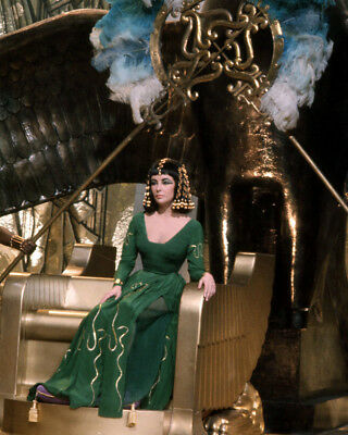 Cleopatra Elizabeth Taylor In Green Dress On Gold Throne Egyptian Set 8X10 Photo