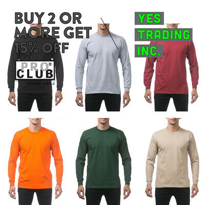 Big And Tall Proclub Pro Club Mens Heavyweight Plain Long Sleeve T Shirt Cotton