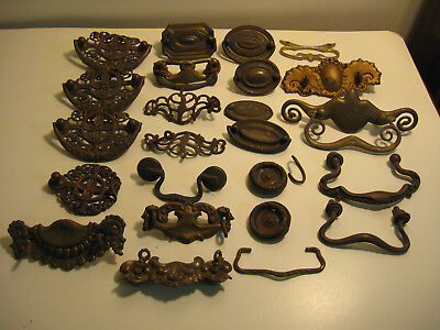 Lot of 23 Vintage Brass/Metal Drawer Pulls Handles