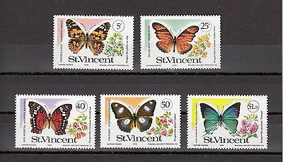Timbre Stamp 5 St Vincent Y&t#506-10 Papillon Butterfly Neuf**/mnh-Mint 1978~A57