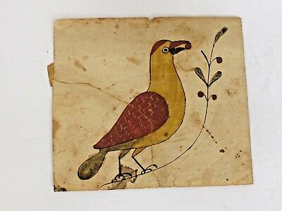 Antique Hand Drawn and Painted American Fractur Fragment