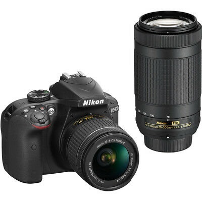 Nikon D3400 24.2MP DSLR w/ DX VR Nikkor 18-55mm & 70-300mm Lens -D3400BUND