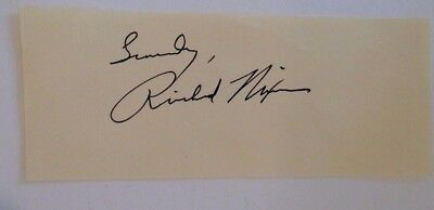Richard Nixon signed 2x5 cut Autograph