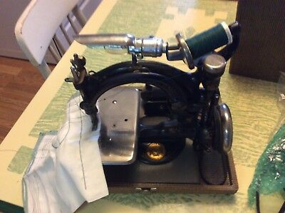 Antique Willcox Gibbs Electric Sewing Machine Cast Iron W/ Pedal & Case