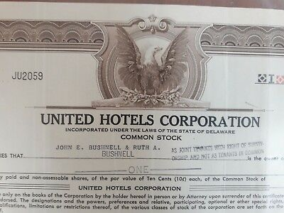 United Hotels Corporation Common Stock