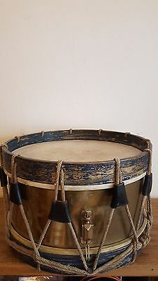 Early Drum With Old Soldier Blue Dark Paint And Brass From France