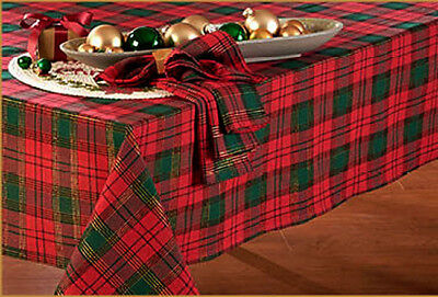 """Shimmering Gold Red & Green Plaid Holiday Christmas Decor Tablecloth 70"""" ROUND"""