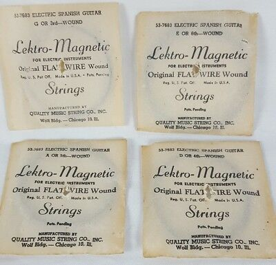 Vintage Electric Spanish Guitar Strings Lektro Magnetic Flat Wire Wound USA