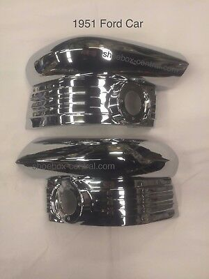 1951 Ford Parking Light Housings Chrome Grill Extensions