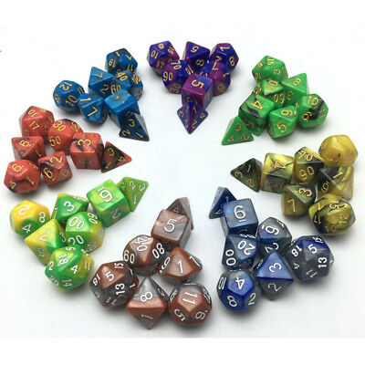 7Pcs/Set Dice TRPG Games Dungeons & Dragons D4-D20 Multi-sided Dices Colorful PF