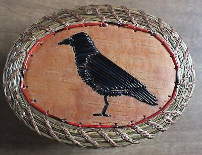Quilled CROW Fragrant SweetGrass Basket ~ Paul St John ~ Native American