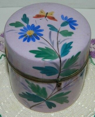 Antique French Porcelain Vanity Trinket Box Painted Painted Lavender W/ Flowers