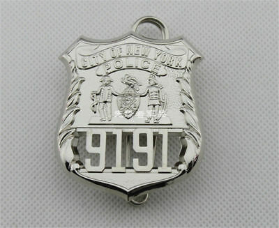 PIN NYPD 9191 FINE COPPER REAL SIZE METAL BADGE OBSOLETE COLLECTIBLES New