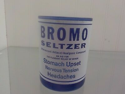 Vintage Bromo Seltzer Cobalt Blue Glass Low Ball Rock Tumbler 4""
