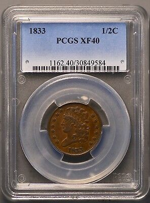 1833 Classic Head Half Cent ~ Graded PCGS XF40!!!