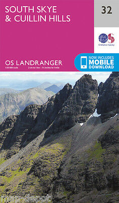 SOUTH SKYE & CUILLIN HILLS LANDRANGER MAP 32 - Ordnance Survey -OS - NEW 2016