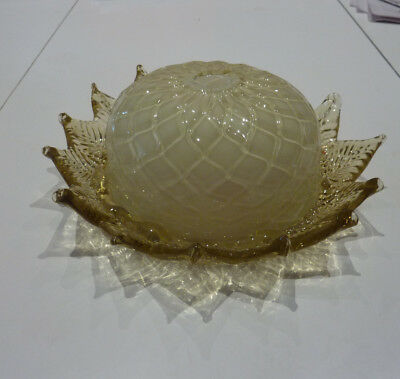 Antique Hand-blown Yellow Quilted Cased Glass Lighting Fixture c. 1910