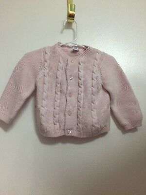 Janie And Jack Baby Girl Pink Button Down Sweater 12-18M