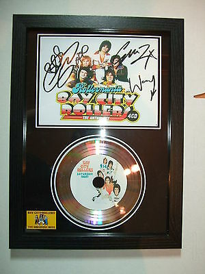 BAY CITY ROLLERS SIGNED FRAMED  SILVER  DISC  NEW FRAME   775332ii