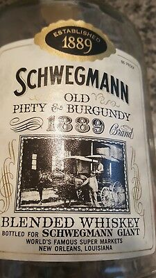 Vintage Schwegmanns Large Glass Whiskey Bottle Piety& Burgundy st. New Orleans