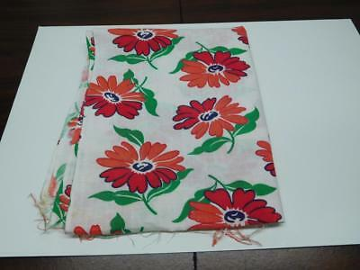 "Vintage Unseamed Feedsack  Red Sunflowers 38"" X 44""   Fs-#b"
