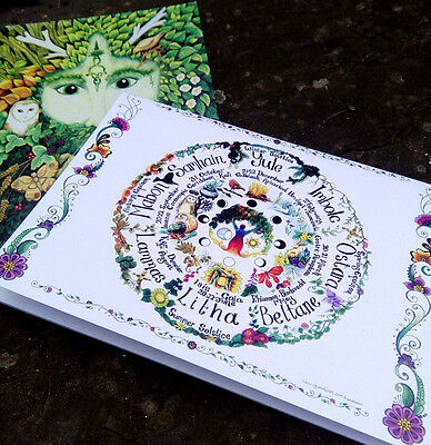 Two Book Of Shadows Green Man and Wheel blank notebook Pagan Medieval Wicca