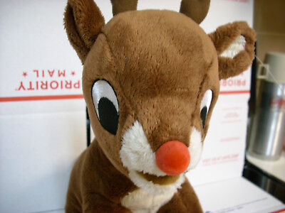 Plush Vgood Cond clean Med RUDOLPH plush stuffed animal xmas anytime toy deer