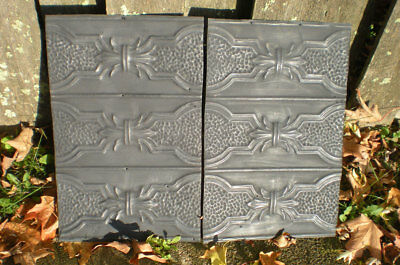 SALE!! 2 Pcs Antique Victorian Ceiling Tin Tile Pie Cupboard Cabinet Doors Chic