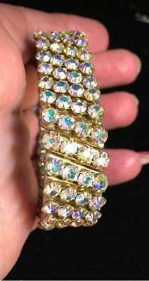 Vintage Rhinestone A.b. Stone Stretch Expansion Bracelet Made Japan Criterion