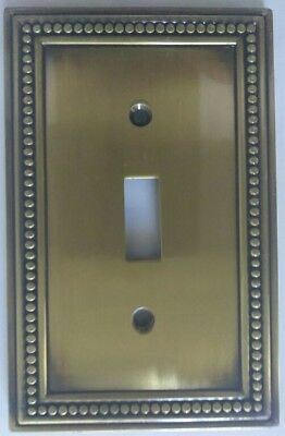 Victorian Recreated Ornate Antique Brass single Toggle Light Switch  Plate Cover