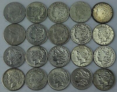 Morgan and Peace Silver Dollar Roll of 20 coins 90% Lot Dollars Collection ID#17