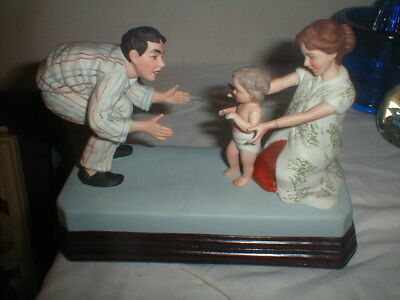 """1985 Norman Rockwell Museum """" Baby's First Step """" Figurine Music Box W/Cert"""