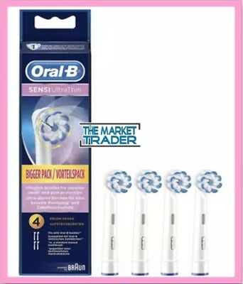 Oral-B Sensi Ultra Thin 4 Replacement Toothbrush Heads - Genuine - Fast Free P&p