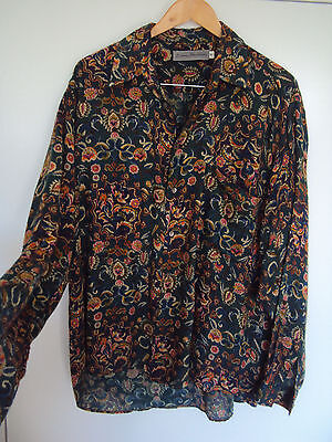 BALANCE INTERNATIONAL flower vintage BOHO pirate hipster unisex shirt men size M