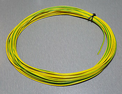 10 Metres YELLOW/GREEN stripe UL-1007 Hookup Wire 20AWG 1.8mm PVC insulator