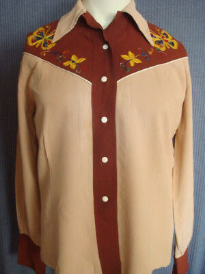 VTG SMARTEE TOGS OF TEXAS C.1940's GABARDINE EMBROIDERED BUTTERFLY WESTERN SHIRT